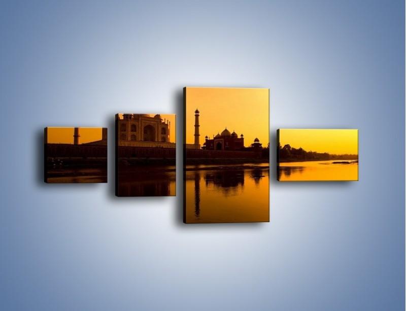 Obraz na płótnie – Taj Mahal o zachodzie słońca – czteroczęściowy AM075W5