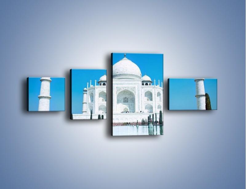Obraz na płótnie – Taj Mahal pod błękitnym niebem – czteroczęściowy AM077W5