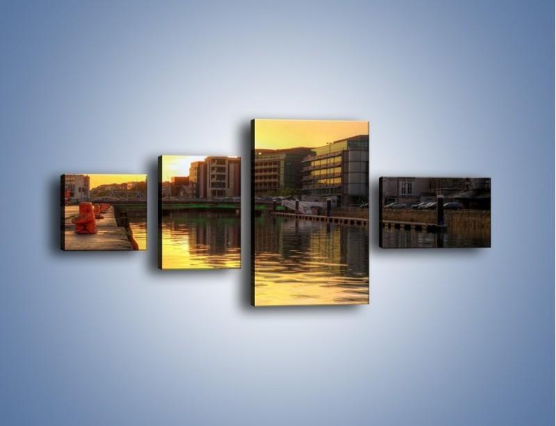 Obraz na płótnie – Kanał portowy o wschodzie słońca – czteroczęściowy AM079W5