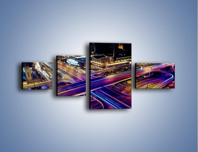 Obraz na płótnie – Skrzyżowanie autostrad nocą w ruchu – czteroczęściowy AM087W5