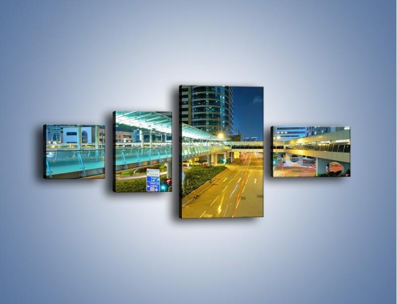 Obraz na płótnie – Droga na lotnisko w Japonii – czteroczęściowy AM088W5