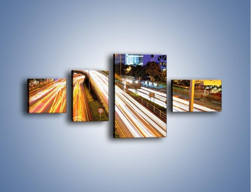 Obraz na płótnie – Ulice w ruchu w mieście – czteroczęściowy AM089W5