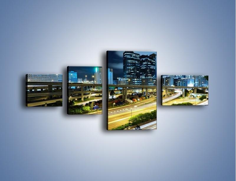 Obraz na płótnie – Przedmieście miasta wieczorem – czteroczęściowy AM091W5