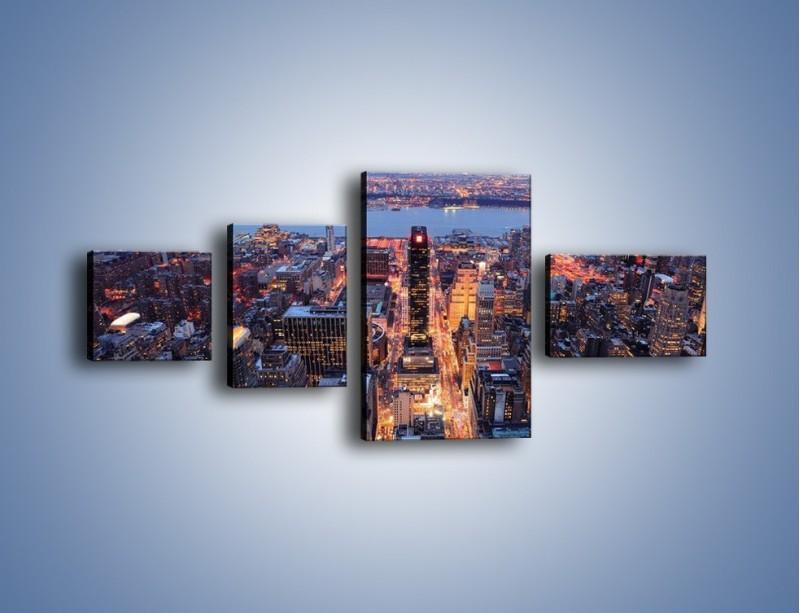 Obraz na płótnie – Budzące się ze snu miasto – czteroczęściowy AM097W5