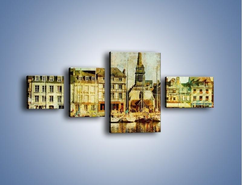 Obraz na płótnie – Łódki nad brzegiem miasteczka w stylu vintage – czteroczęściowy AM108W5