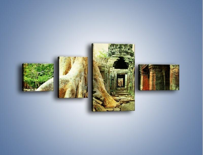 Obraz na płótnie – Nieznane ruiny w stylu vintage – czteroczęściowy AM109W5