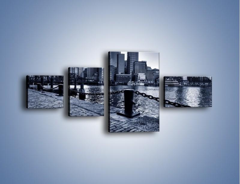 Obraz na płótnie – Wybrukowana wybrzeże miasta – czteroczęściowy AM132W5