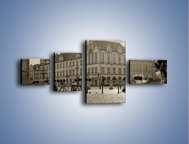 Obraz na płótnie – Rynek Starego Miasta w stylu vintage – czteroczęściowy AM138W5
