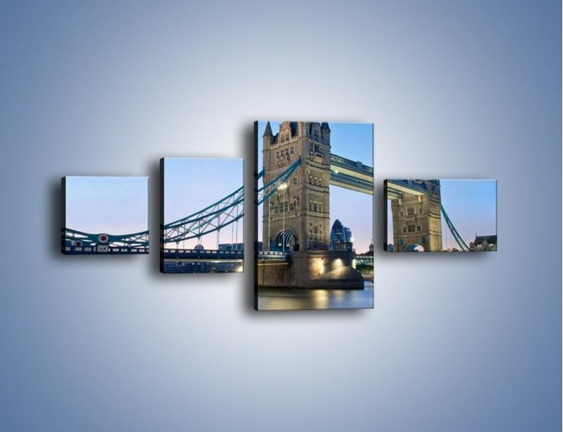 Obraz na płótnie – Tower Bridge o poranku – czteroczęściowy AM143W5