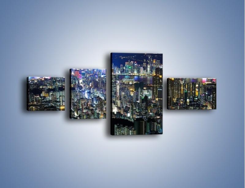 Obraz na płótnie – Nocne światła w dużym mieście – czteroczęściowy AM144W5