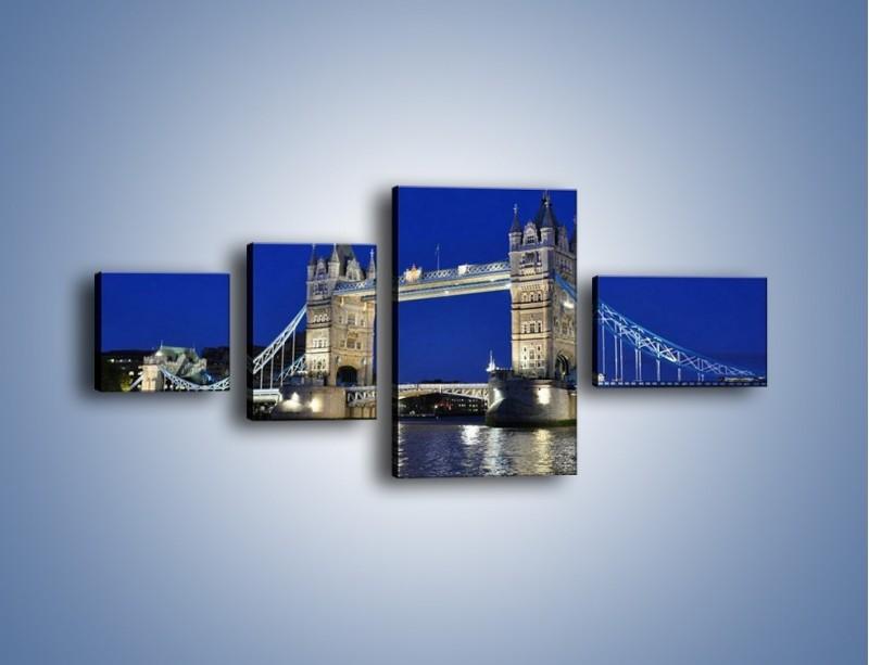 Obraz na płótnie – Tower Bridge nocą – czteroczęściowy AM145W5