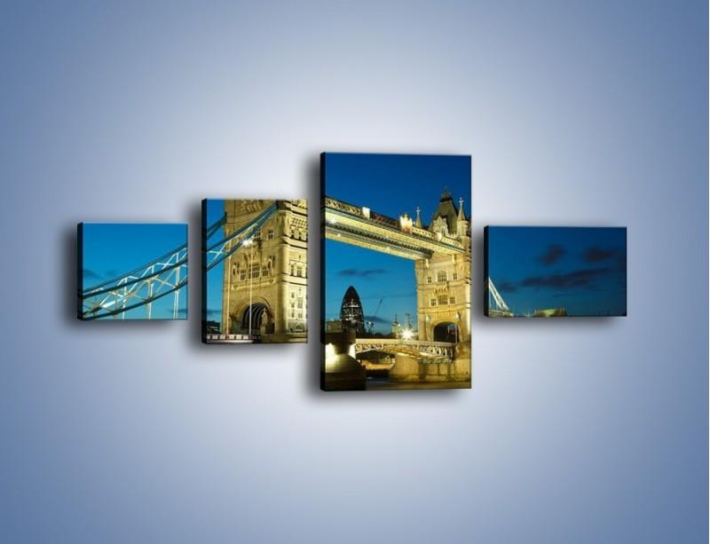 Obraz na płótnie – Tower Bridge wieczorową porą – czteroczęściowy AM159W5