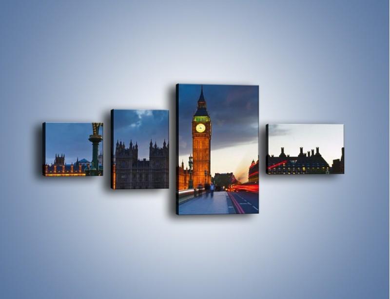 Obraz na płótnie – Big Ben świetle lamp – czteroczęściowy AM166W5