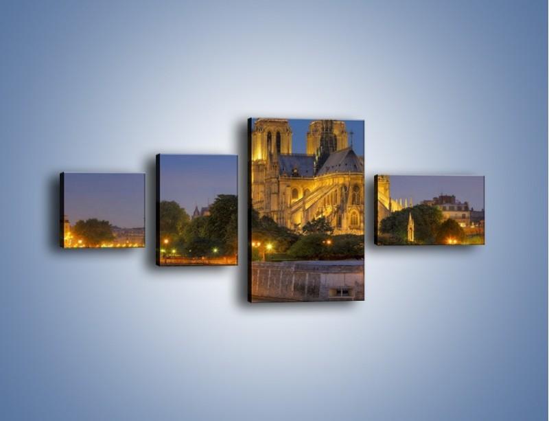Obraz na płótnie – Kościół w świetle wieczornych lamp – czteroczęściowy AM170W5
