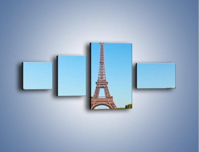 Obraz na płótnie – Wieża Eiffla pod błękitnym niebem – czteroczęściowy AM171W5