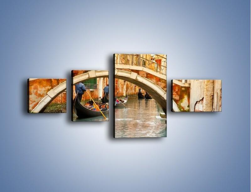 Obraz na płótnie – Weneckie gondole – czteroczęściowy AM172W5