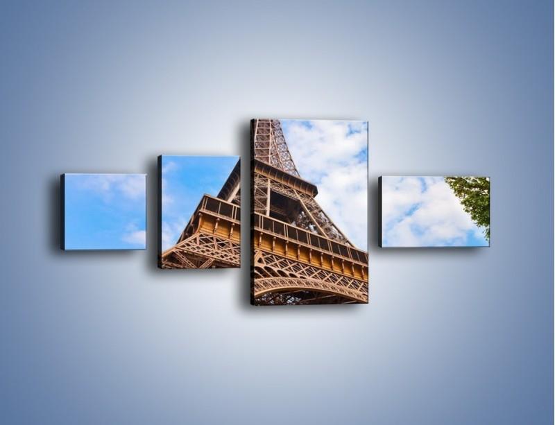 Obraz na płótnie – Wieża Eiffla pod chmurkami – czteroczęściowy AM173W5