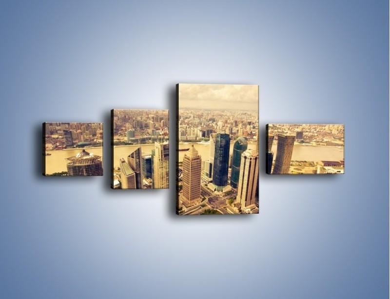 Obraz na płótnie – Miasto w pochmurny dzień – czteroczęściowy AM178W5