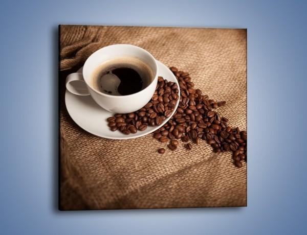 Obraz na płótnie – Kawa na białym spodku – jednoczęściowy kwadratowy JN430