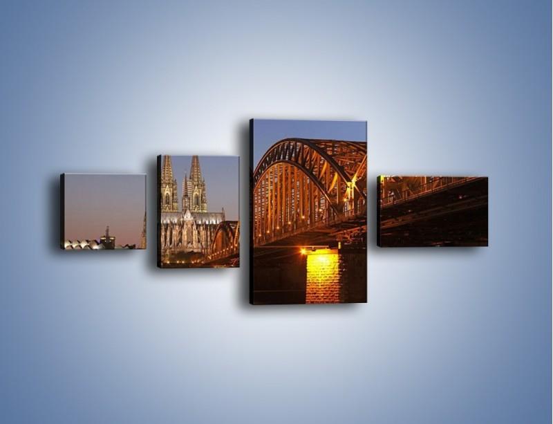 Obraz na płótnie – Most na tle kościoła – czteroczęściowy AM186W5
