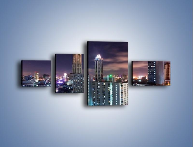 Obraz na płótnie – Duże miasto nocą – czteroczęściowy AM202W5