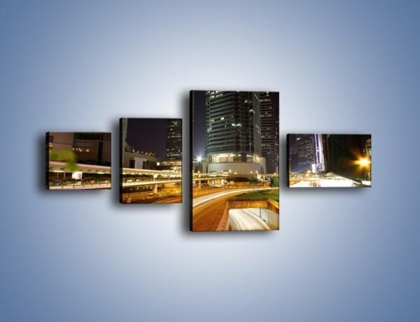 Obraz na płótnie – Miasto w nocnym ruchu ulicznym – czteroczęściowy AM225W5