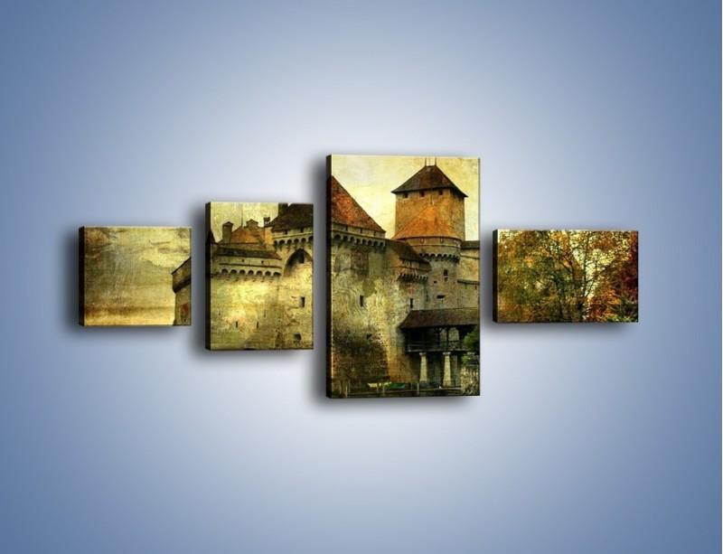 Obraz na płótnie – Średniowieczny zamek w stylu vintage – czteroczęściowy AM233W5