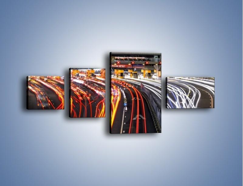 Obraz na płótnie – Autostradowa bramka w ruchu świateł – czteroczęściowy AM236W5