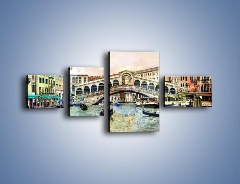 Obraz na płótnie – Wenecja w stylu vintage – czteroczęściowy AM239W5