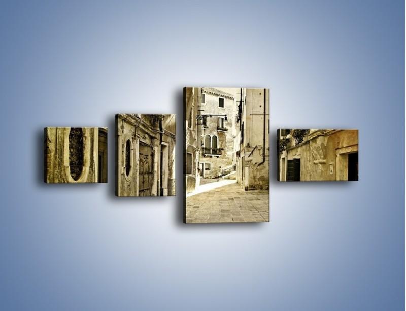 Obraz na płótnie – Stara uliczka w stylu vintage – czteroczęściowy AM243W5