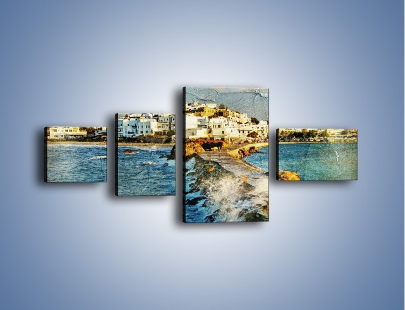 Obraz na płótnie – Grecka dróżka przez wodę vintage – czteroczęściowy AM268W5