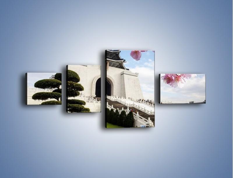 Obraz na płótnie – Azjatycka architektura – czteroczęściowy AM299W5