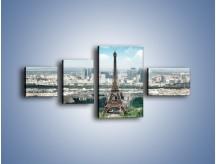 Obraz na płótnie – Chmury nad Wieżą Eiffla – czteroczęściowy AM302W5