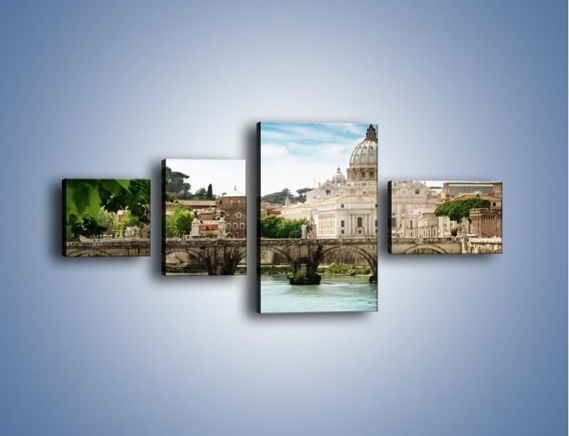 Obraz na płótnie – Rzeka Tyber na tle bazyliki – czteroczęściowy AM303W5