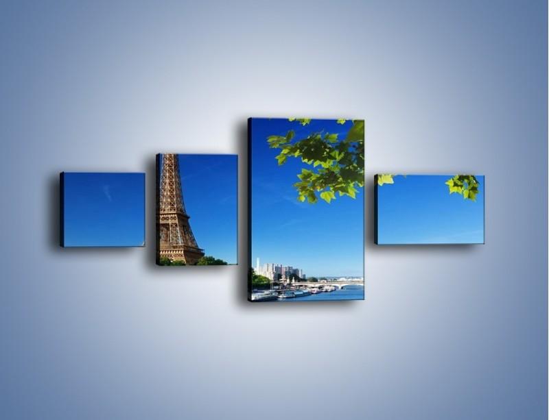 Obraz na płótnie – Wieża Eiffla w piękny dzień – czteroczęściowy AM304W5