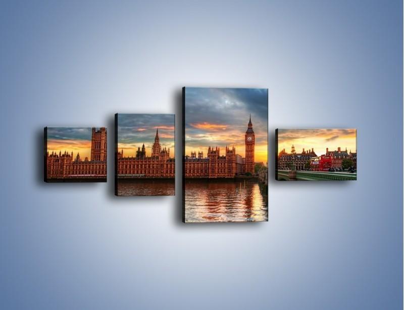 Obraz na płótnie – Pałac Westmnisterski i Big Ben – czteroczęściowy AM321W5