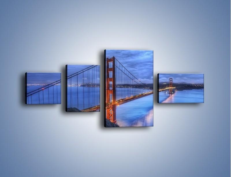 Obraz na płótnie – Most Golden Gate – czteroczęściowy AM328W5