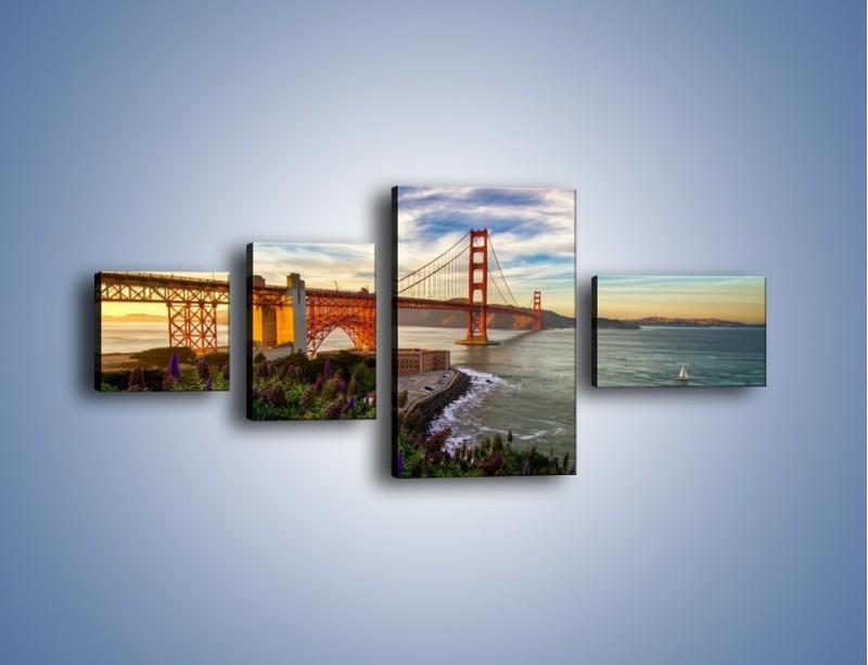 Obraz na płótnie – Most Golden Gate o zachodzie słońca – czteroczęściowy AM332W5