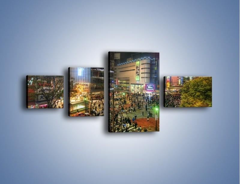Obraz na płótnie – Zatłoczone ulice Toyko nocą – czteroczęściowy AM333W5
