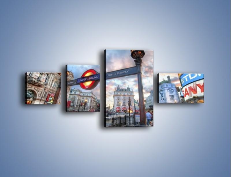 Obraz na płótnie – Wejście do londyńskiego metro – czteroczęściowy AM334W5