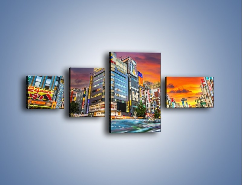 Obraz na płótnie – Tokyo na tle kolorowego nieba – czteroczęściowy AM336W5