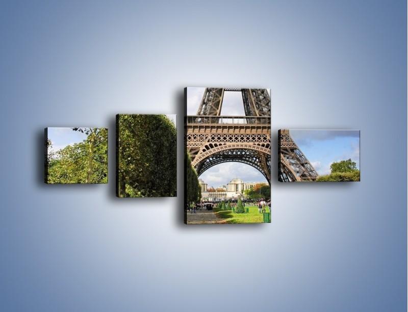 Obraz na płótnie – Wieża Eiffla – czteroczęściowy AM340W5