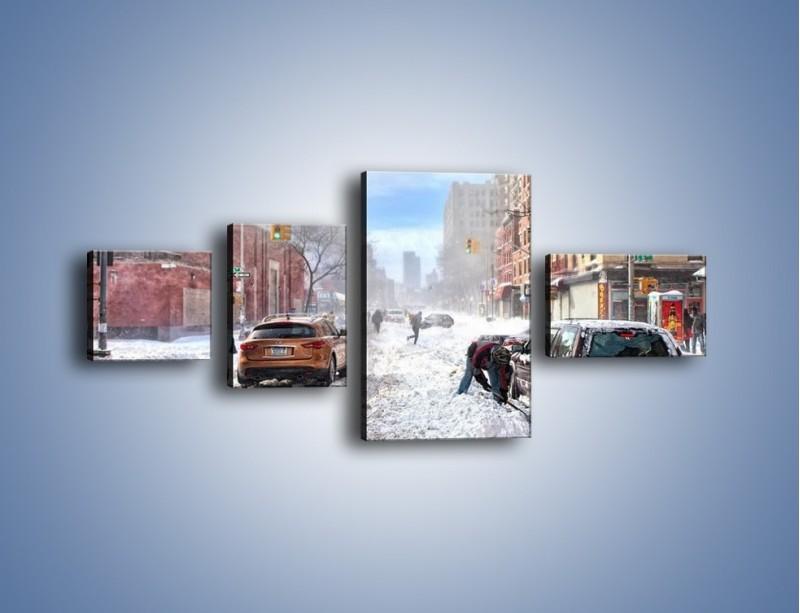 Obraz na płótnie – Zaśnieżone ulice miasta – czteroczęściowy AM342W5