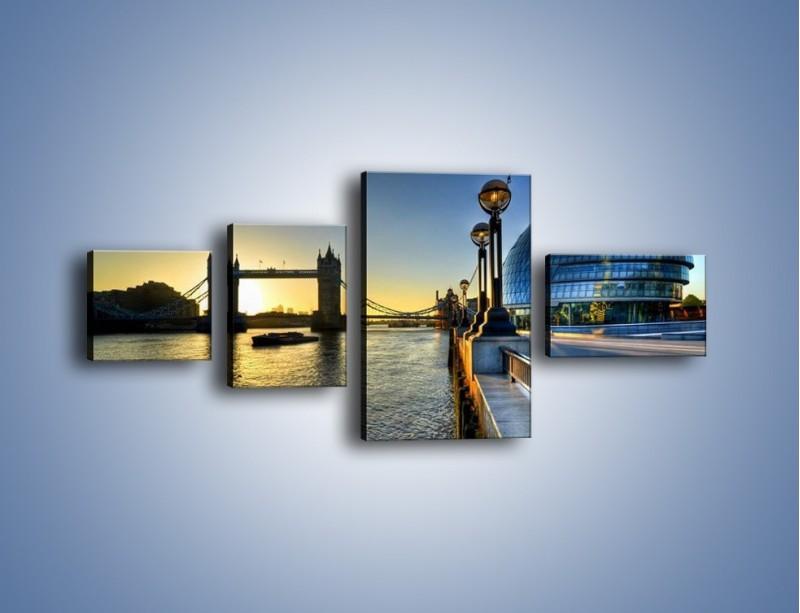 Obraz na płótnie – Londyński Tower Bridge – czteroczęściowy AM348W5