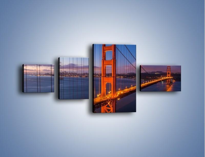 Obraz na płótnie – Rozświetlony most Golden Gate – czteroczęściowy AM360W5
