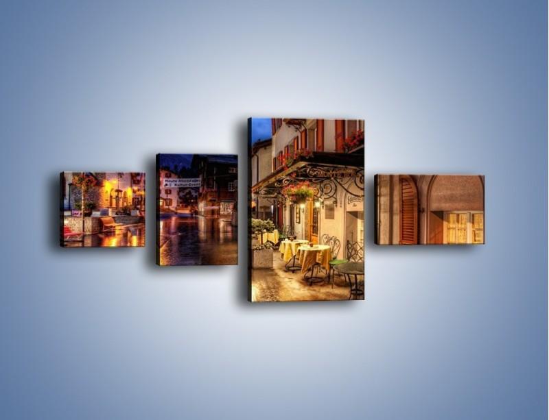 Obraz na płótnie – Romantyczne miasteczko pod Alpami – czteroczęściowy AM368W5