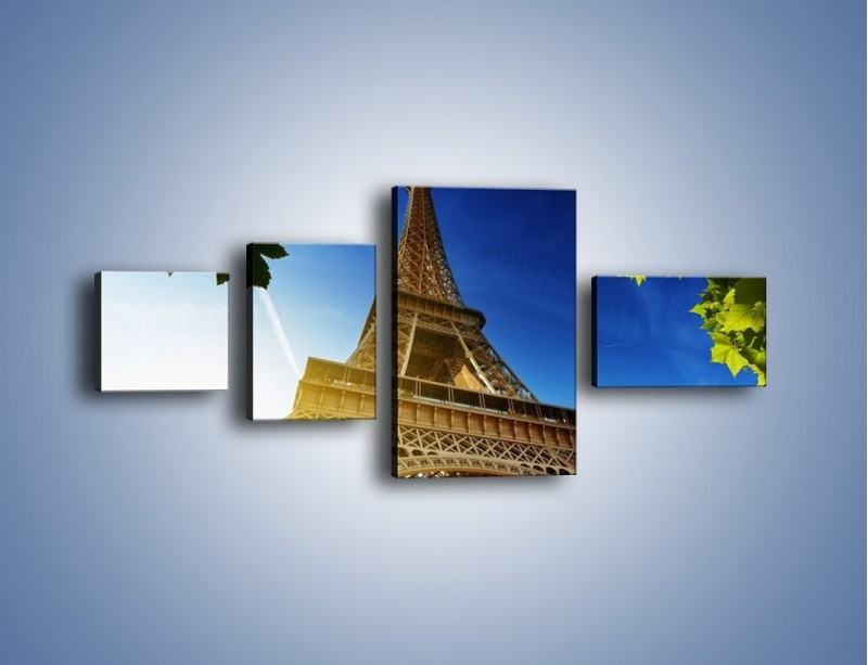 Obraz na płótnie – Wieża Eiffla w pełnej krasie – czteroczęściowy AM372W5