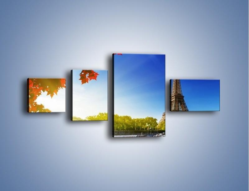 Obraz na płótnie – Wieża Eiffla w piękny dzień – czteroczęściowy AM373W5