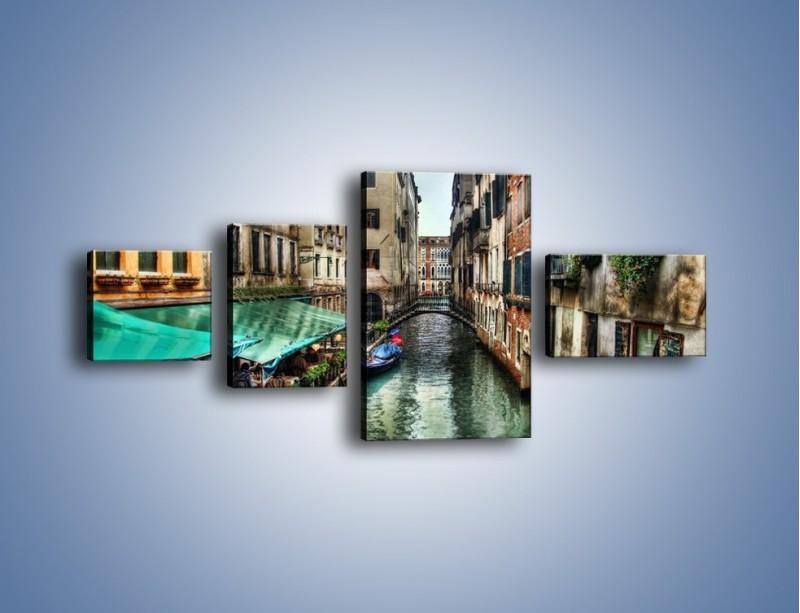 Obraz na płótnie – Wenecka uliczka w kolorach HDR – czteroczęściowy AM374W5
