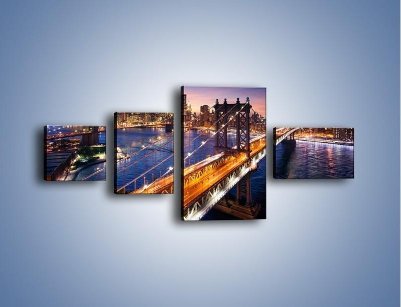 Obraz na płótnie – Zachodzące słońce nad Manhattanem – czteroczęściowy AM377W5